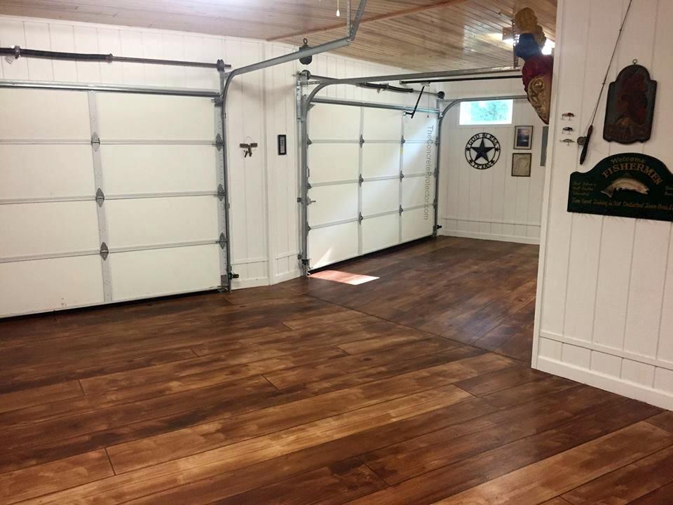 Concrete wood garage floor